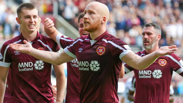 EDINBURGH, SCOTLAND - SEPTEMBER 25: Hearts' Liam Boyce celebrates after making it 2-0 during a cinch Premiership match between Heart of Midlothian and Livingston at Tynecastle park, on September 25, 2021, in Edinburgh, Scotland. (Photo by Alan Harvey / SNS Group)