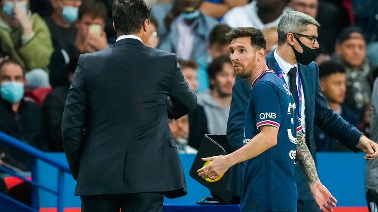 Lionel Messi looked puzzled as he was brought off by Mauricio Pochettino in the 76th minute with the score at 1-1