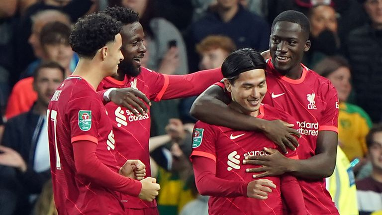 Liverpool celebrate a goal in the Carabao Cup vs Norwich