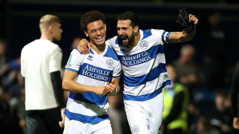 Luke Amos and Yoann Barbet celebrate QPR's shootout win