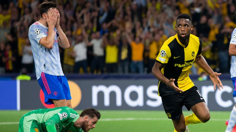 Young Boys' Jordan Pefok, center, celebrates after scoring during of the Champions League group F soccer match between BSC Young Boys and Manchester United