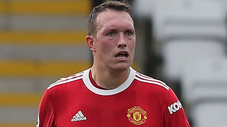 Phil Jones in Manchester United U23s action against Brighton earlier this month