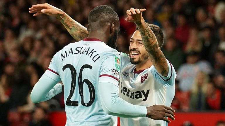 West Ham's Manuel Lanzini celebrates with team-mate Arthur Masuaku after scoring against Man Utd