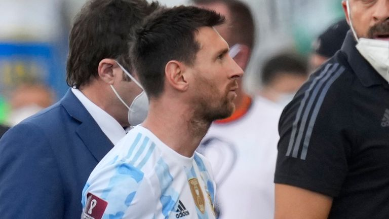 Lionel Messi leaves the pitch against Brazil
