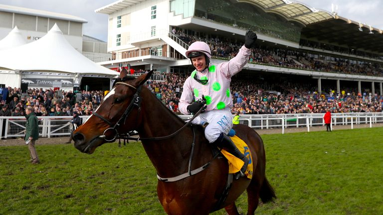 Jockey Paul Townend celebrates winning the Ryanair Chase with Min at the Cheltenham Festival in 2020