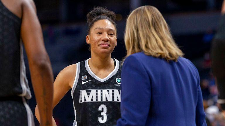 Minnesota Lynx guard Aerial Powers (3) listens to head coach Cheryl Reeve