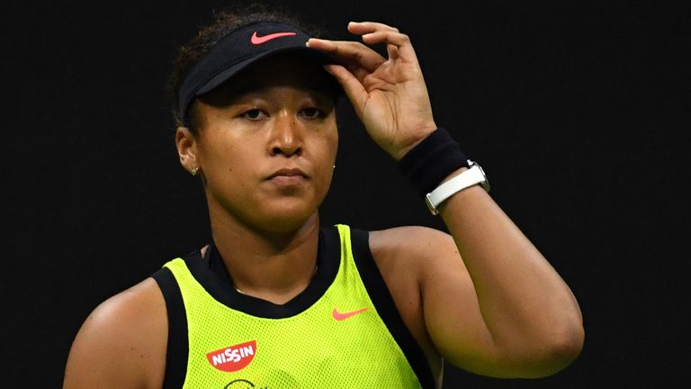 Naomi Osaka reacts during her 2021 US Open third-round match against Leylah Fernandez