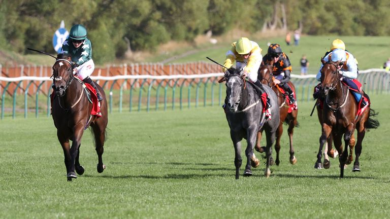 Nazanin ridden by jockey Hollie Doyle (left) wins the Virgin Bet Firth of Clyde Fillies Stakes at Ayr