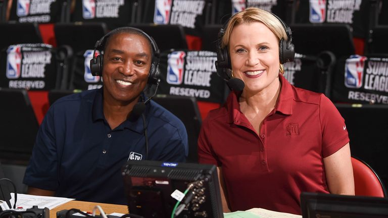 Isiah Thomas and Lisa Byington covering the 2021 Las Vegas Summer League