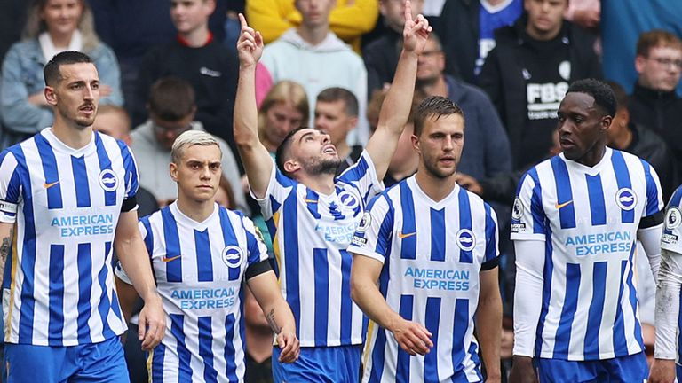 Neal Maupay celebrates scoring a penalty for Brighton vs Leicester