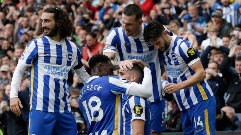 Neal Maupay celebrates after scoring for Brighton vs Leicester