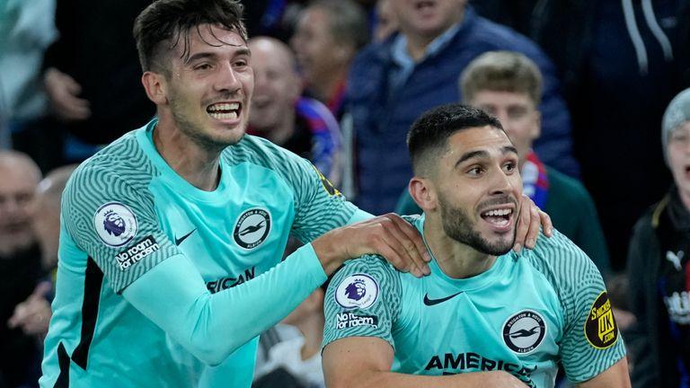 Neal Maupay celebrates scoring for Brighton vs Crystal Palace
