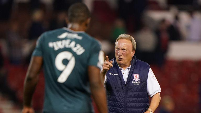 Neil Warnock celebrates Middlesbrough's win against Nottingham Forest