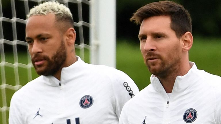 Lionel Messi (right) joined Neymar at Paris Saint-Germain over the summer (Getty)