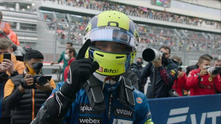 Lando Norris takes his first ever pole position ahead of tomorrow's race at the Russian Grand Prix.