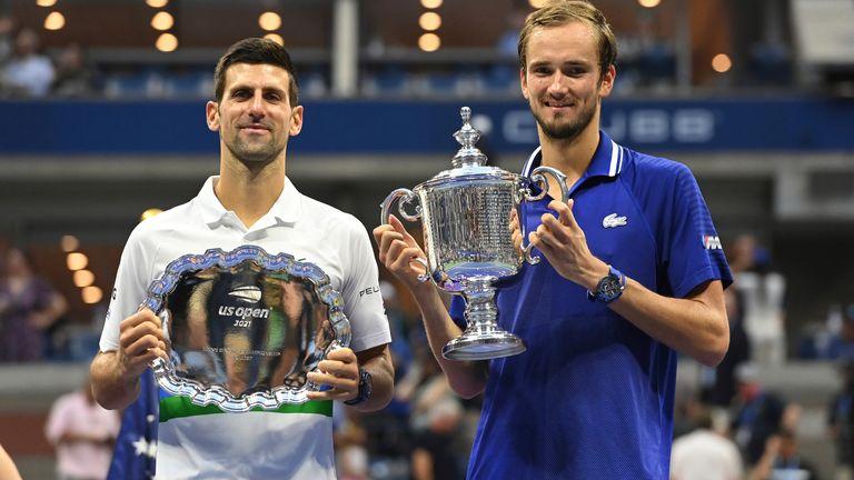 Djokovic, left, had beaten Daniil Medvedev in straight sets in the Australian Open final in February