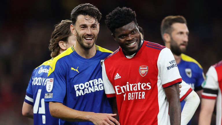 Thomas Partey featured in Wednesday's 3-0 win over AFC Wimbledon