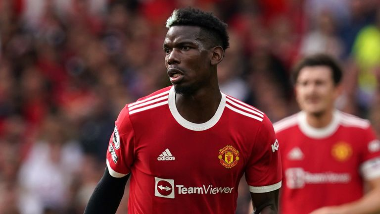 Manchester United's Paul Pogba during the Premier League match at Old Trafford, Manchester. Picture date: Saturday September 11, 2021.