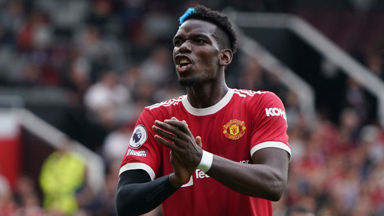 Manchester United's Paul Pogba reacts (AP)