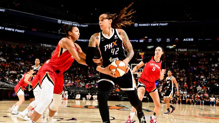 Brittney Griner #42 of the Phoenix Mercury drives to the basket during the game against the Las Vegas Aces on September 19, 2021 at Footprint Center in Phoenix, Arizona. (Photo by Barry Gossage/NBAE via Getty Images)