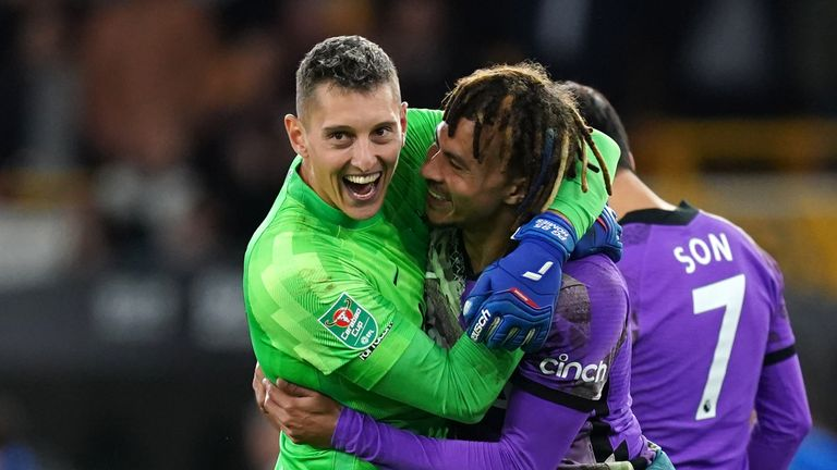 Summer arrival Pierluigi Gollini saved from Leander Dendoncker in the shoot-out