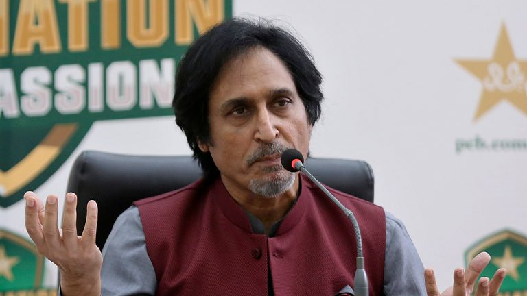 Ramiz Raja, newly elected Chairman of the Pakistan Cricket Board, gives a press conference, in Lahore, Pakistan, Monday, Sept. 13, 2021.