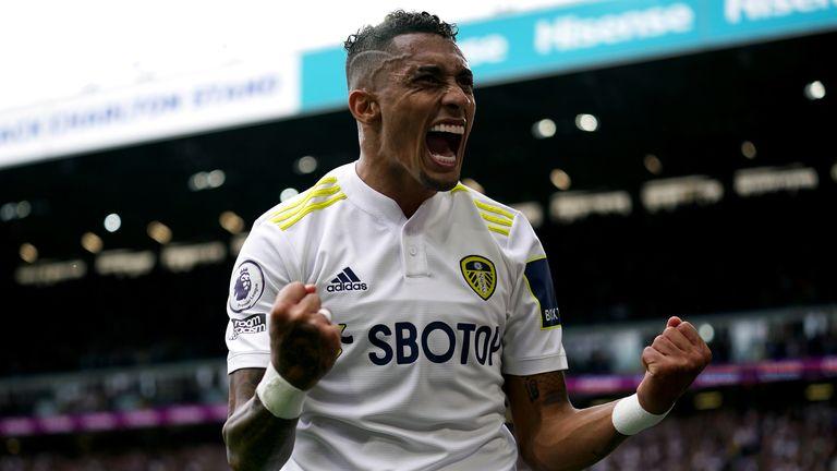 Leeds United's Raphinha celebrates scoring the opening goal