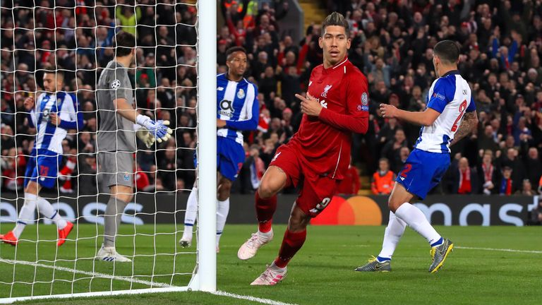 Liverpool's Roberto Firmino scores his side's second goal of the game during the UEFA Champions League quarter final, first leg match at Anfield, Liverpool.