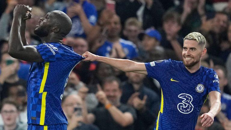 Romelu Lukaku celebrates with Jorginho after scoring for Chelsea against Zenit
