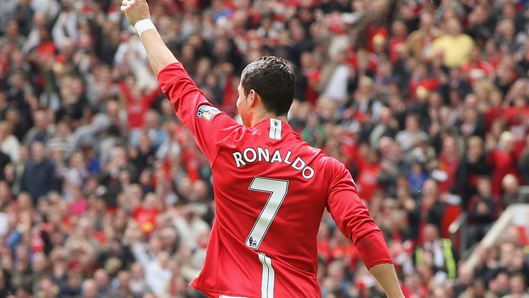 MANCHESTER, ENGLAND - MAY 10: Cristiano Ronaldo of Manchester United celebrates scoring their first goal during the Barclays Premier League match between Manchester United and Manchester City at Old Trafford on May 10 2009 in Manchester, England. (Photo by Chris Coleman/Manchester United via Getty Images) *** Local Caption *** Cristiano Ronaldo