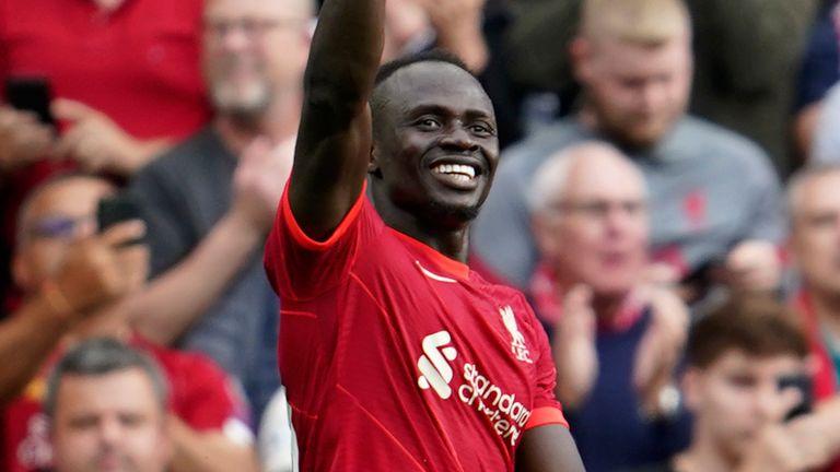 Sadio Mane gestures after scoring his 100th Liverpool goal (AP)