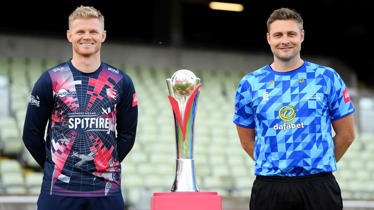 Kent's Sam Billings and Sussex's Luke Wright pose with the Vitality T20 Blast trophy