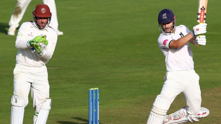Sam Hain hit an unbeaten 83 for Warwickshire on day one of their game against Somerset