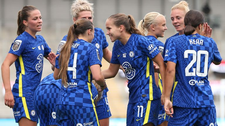 Chelsea hit Manchester United Women for six in the WSL on Sunday
