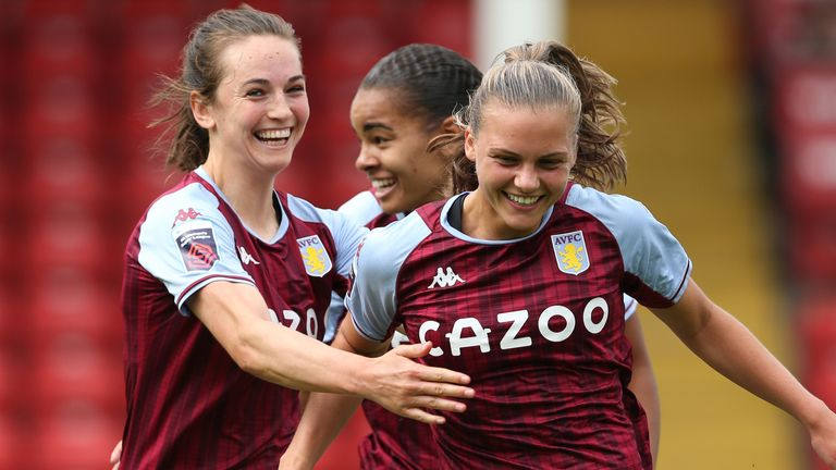 Aston Villa's Sarah Mayling (right) celebrates scoring against Leicester City in the WSL