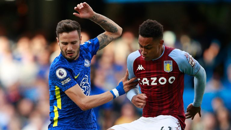 Chelsea's Saul Niguez is tackled by Aston Villa's Jacob Ramsey (AP)
