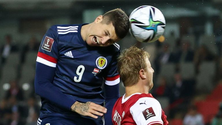 Scotland's Lyndon Dykes has a header at goal during the FIFA World cup Qualifier between Austria and Scotland at the Ernst-Happel-Stadion