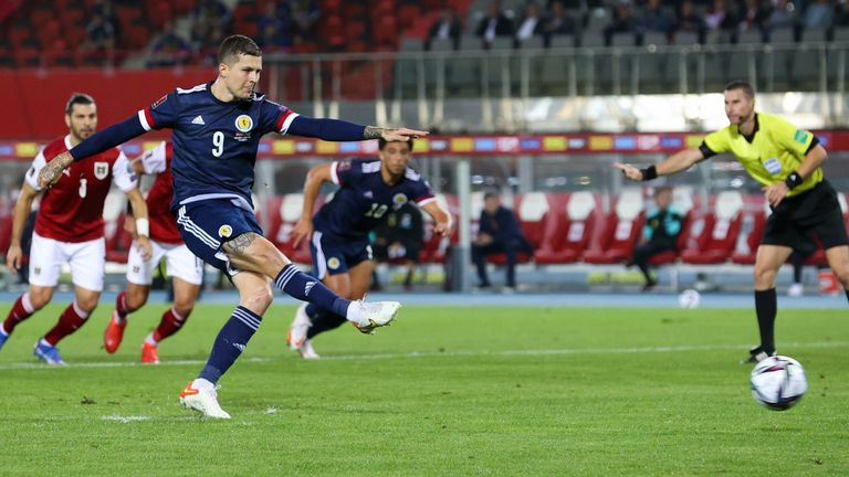 Scotland's Lyndon Dykes scores a penalty to make it 1-0 during the FIFA World cup Qualifier between Austria and Scotland at the Ernst-Happel-Stadion