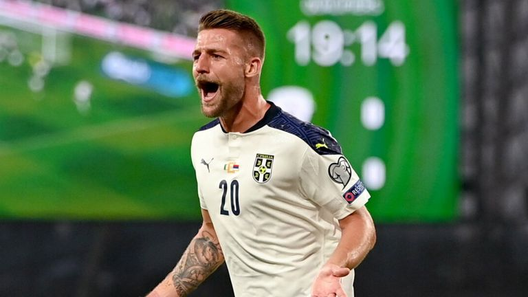 Serbia's Sergej Milinkovic-Savic of Serbia celebrates after scoring against Republic of Ireland