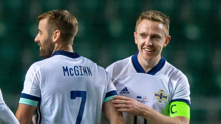 Northern Ireland's Shane Ferguson celebrates after scoring against Estonia.