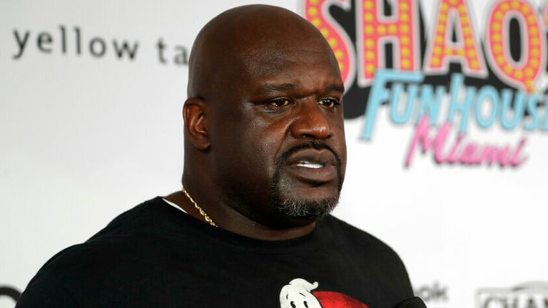 """In this Jan. 31, 2020, file photo, former NBA player Shaquille O' Neal is interviewed on the red carpet for Shaq's Fun House in Miami. O'Neal is set to perform in his first competitive match when he teams in All Elite Wrestling with Jade Cargill in a mixed tag to take on Cody Rhodes and Red Velvet at Daily's Place on an episode of """"Dynamite,"""" Wednesday, March 3, 2021. (AP Photo/Lynne Sladky, File)"""