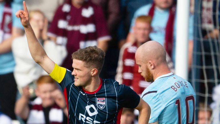 DINGWALL, SCOTLAND - SEPTEMBER 18: Ross County's Blair Spittal celebrates his goal during the cinch Premiership match between Ross County and Heart of Midlothian at the Global Energy Stadium on September 18, 2021, in Dingwall, Scotland.  (Photo by Craig Foy / SNS Group)