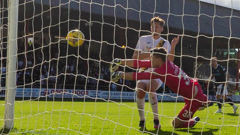 DUNDEE, SCOTLAND - SEPTEMBER 11: Livingston's Max Stryjek saves from Leigh Griffiths   during a cinch Premiership match between Dundee and Livingston at Kilmac Stadium on September 11, 2021, in Dundee, Scotland (Photo by Mark Scates / SNS Group)