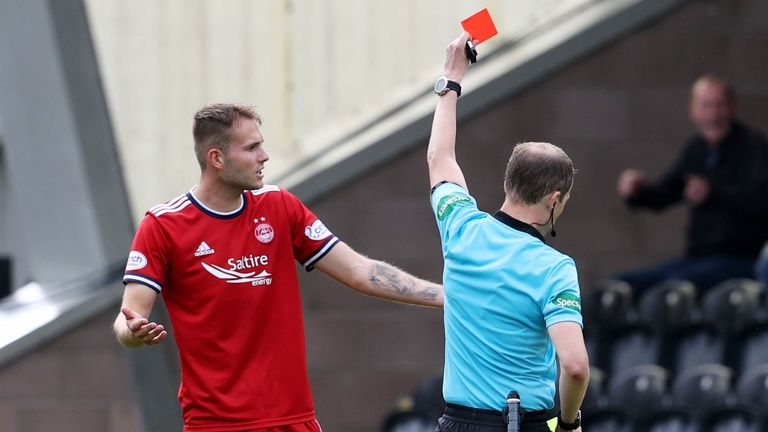 Aberdeen Teddy Jenks was shown a red card with the Dons leading 2-1