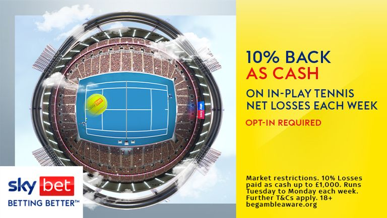 10% tennis in-play cash back