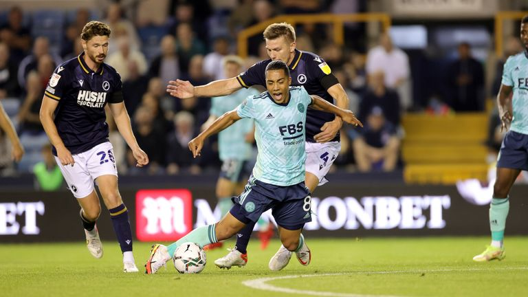 Leicester's Youri Tielemans is fouled during the tie with Millwall