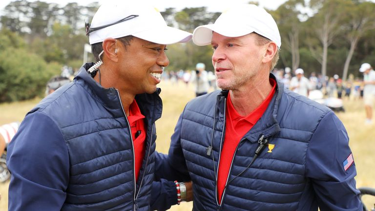 Steve Stricker (right) was a vice-captain for Woods in the 2019 Presidents Cup victory in Australia