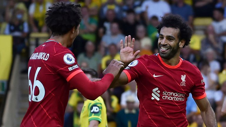 Trent Alexander-Arnold and Mohamed Salah make the XI based on FIFA 22 ratings