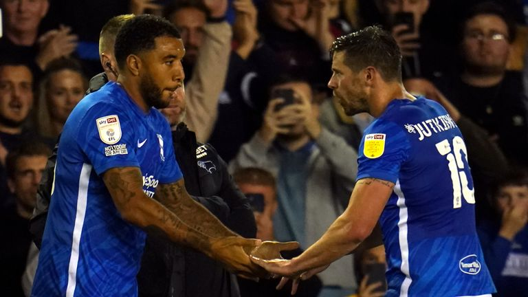 Troy Deeney made his Birmingham debut in the Blues' 2-0 win over Derby