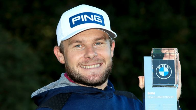 Tyrrell Hatton with the trophy after winning the 2020 BMW PGA Championship